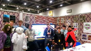 Charlie Adlard (The Walking Dead), the Guildford College touch screen art students and a muskart eer. #LSCC #WelcomeToGuildford #Magic
