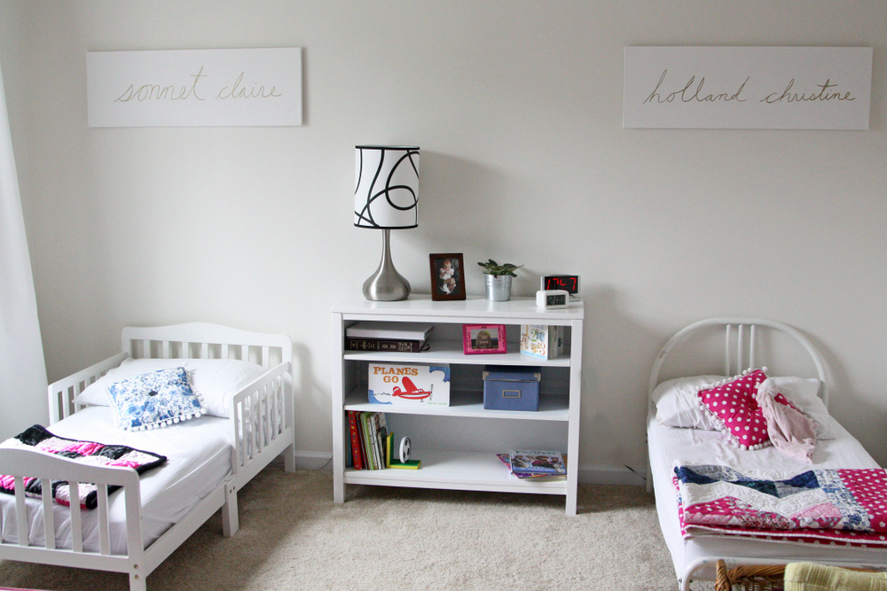 Good Shared toddler bedroom with room for reading and art projects