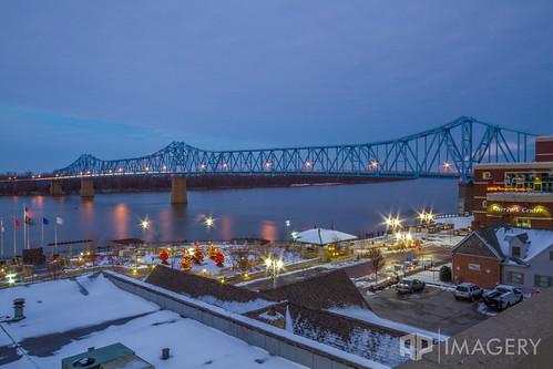 bridge sunset snow twilight downtown riverfront riverpark cary ohioriver owensboro bluebridge smotherspark