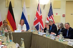 U.S. Secretary of State John Kerry sits with some of his counterparts from Germany, China, the European Union, France, the United Kingdom, and Russia on March 29, 2015, in Lausanne, Switzerland, before a coordinating meeting among the P5+1 partner nations about negotiations over the future of Iran's nuclear program. [State Department Photo / Public Domain]