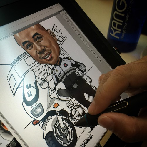 Traffic police digital caricature on Wacom Cintiq Companion