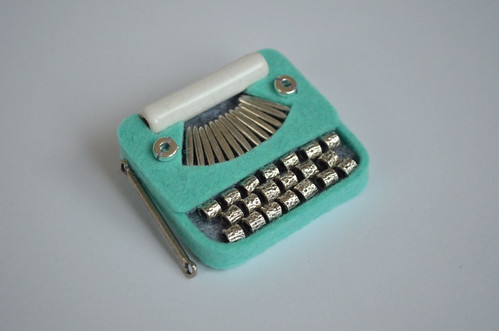 Green Accordian Typewriter Brooch