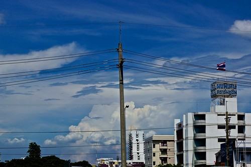 city blue sky urban glass lines architecture clouds buildings reflections landscape thailand concrete mirror asia cityscape power bangkok steel sony dramatic powerlines southeast alpha dslr 77