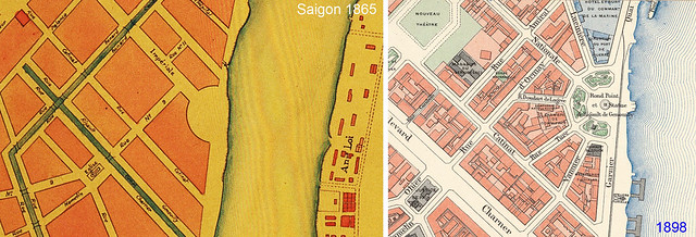 The Rond-point marked on an 1865 map of Saigon.