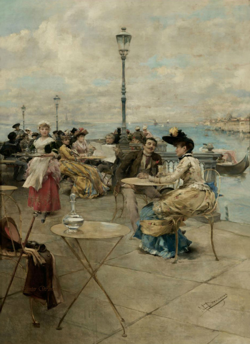 Cafe in Venice by Manuel Domínguez Sánchez