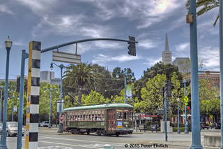 MUNI F-LINE CARS--952 at Embarcadero/Battery IB. 2 of 2