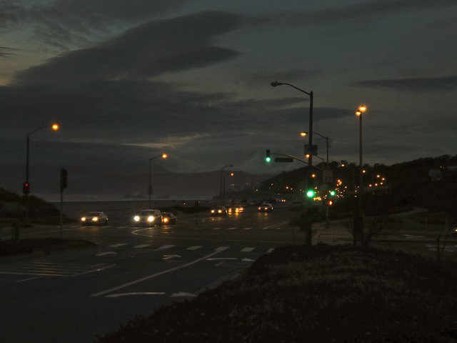 Great Highway at Ocean Beach, dusk.  April 6, 2015