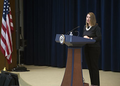 Deputy Secretary of State for Management and Resources Heather Higginbottom delivers remarks at the Global Chiefs of Mission Conference at the U.S. Department of State in Washington, D.C., on March 25, 2015. [State Department photo/ Public Domain]