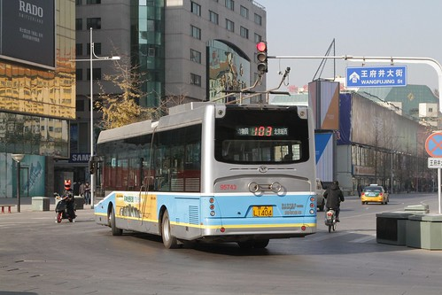 Trolleybus running on battery power through the Wangfujing district of central Beijing