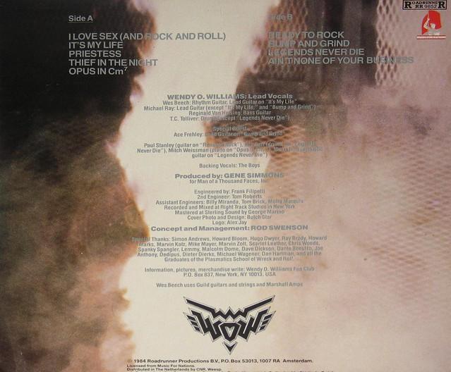 "Wendy O'Williams - WOW 12"" Vinyl LP"