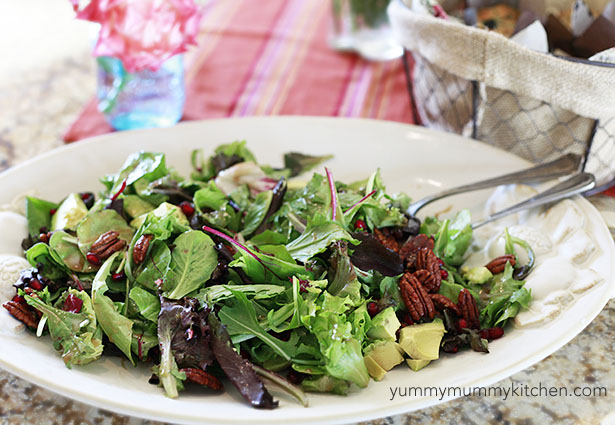 Avocado, Pecan, Pomegranate Salad with Maple Vinaigrette