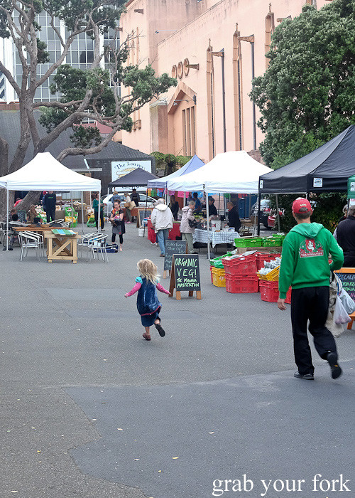 Stalls at Thorndon Farmers' Market, Wellington