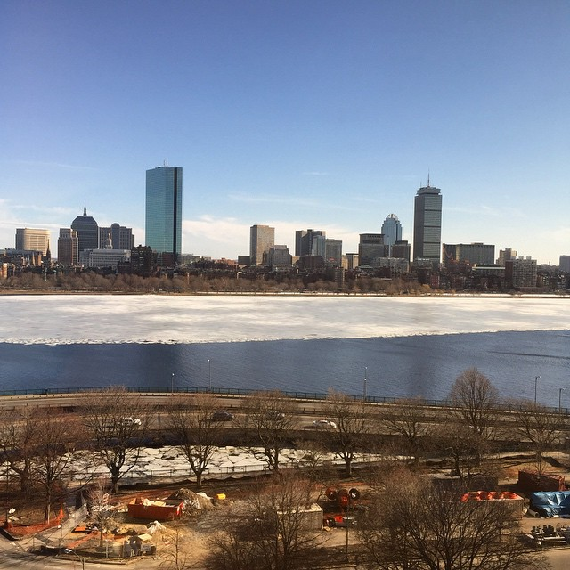 Gorgeous view of the #CharlesRiver from Cambridge - half melted!! #hellospring