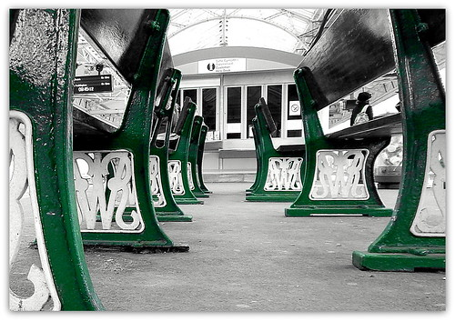 Cast iron GWR (Great Western Railway) station benches.