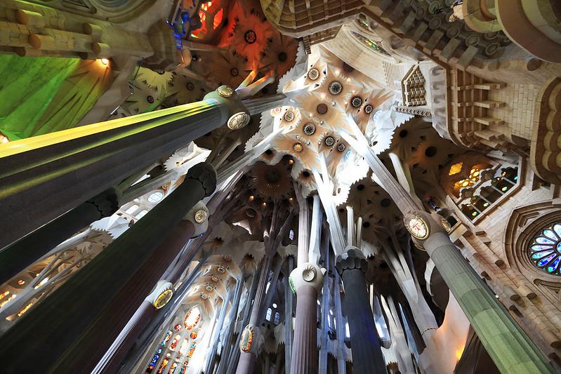 Looking up in Sagrada Familia