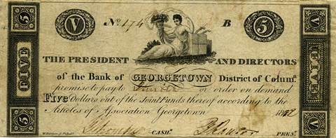 Georgetown $5 banknote Haxby DC-100-G8