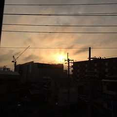 the rain stopped (for now), thanks for today! #sunset #osaka #japan
