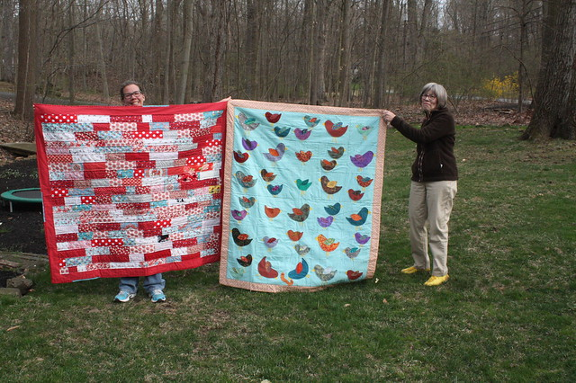 Mom and I, with our quilts