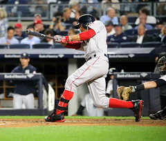 Red Sox outfielder Mookie Betts lines out in the fourth inning.