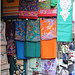 Sarees displayed outside a textile shop