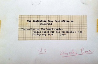 The Australian Army Post Office on Gallipoli - WW1 - reverse