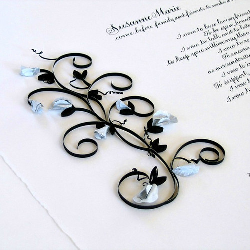 Marriage Certificate with Quilling and Sculptured Sweet Peas