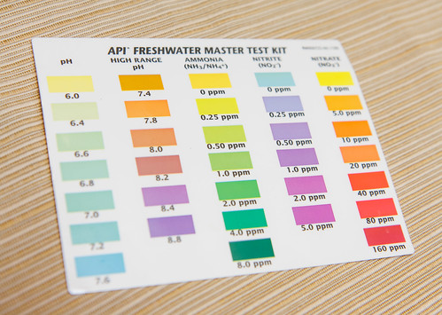 PH, Ammonia, Nitrite, and Nitrate results against the color card for the API Freshwater Master Test Kit
