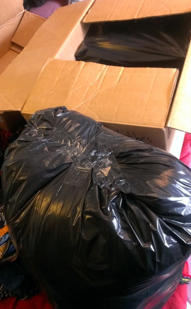 Clothes box, plastic bags sealed