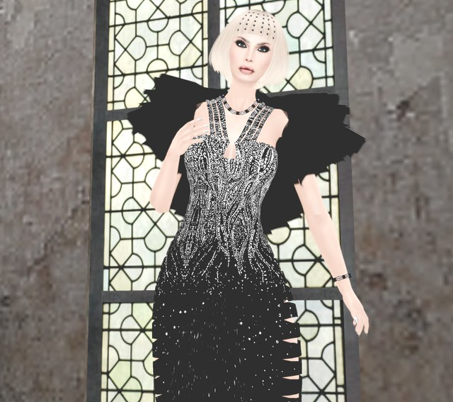Pure Black Stardust Gown