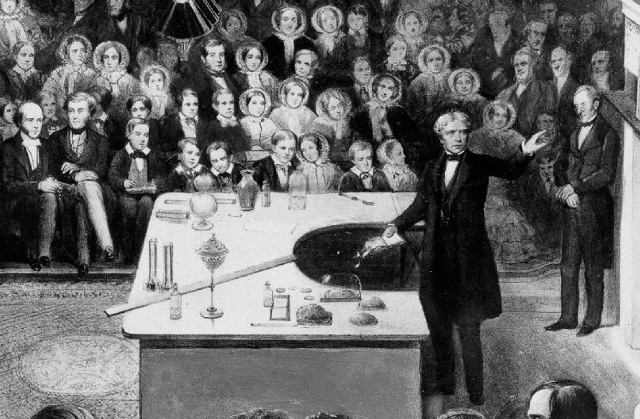 Michael Faraday delivering a lecture at the Royal Institution