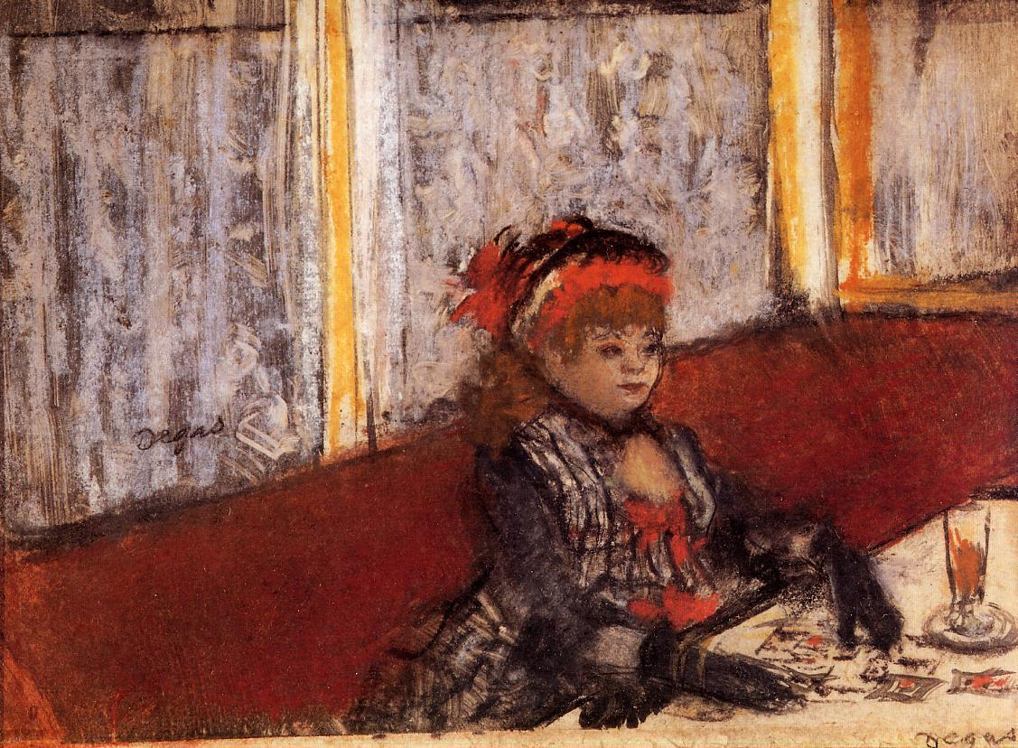 Woman in a Cafe by Edgar Degas - circa 1877