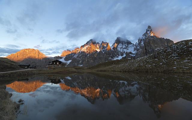 Sunset panorama at Baita Segantini - second wide version