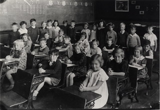 Park Public School, Shuter St. north side, between Sackville Green & Blevins Place; INTERIOR, grade 1 class.