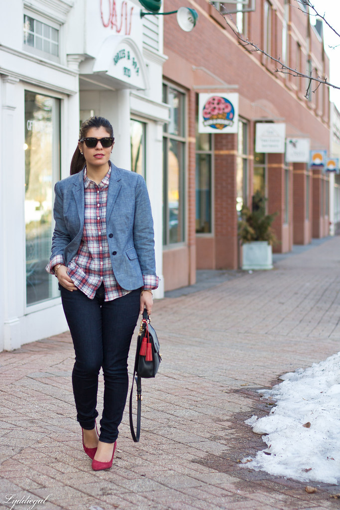 chambray blazer, plaid shirt, red pumps.jpg