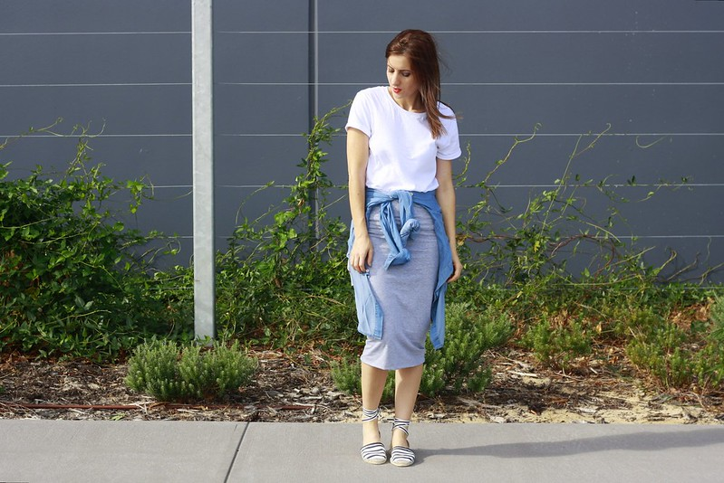 Wearing Dotti grey skirt, general pants white t-shirt
