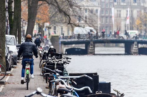 Bicycles by the canals of Amsterdam
