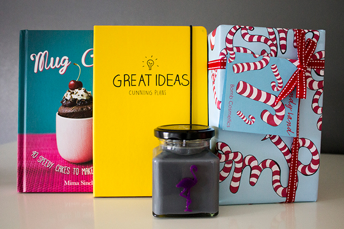 Flamingo Gifts: Mug Cakes Book, Flamingo Candles Black Iris Candle, Happy Jackson Great Ideas A5 Notebook, Bomb Cosmetics Candy Land Gift Pack