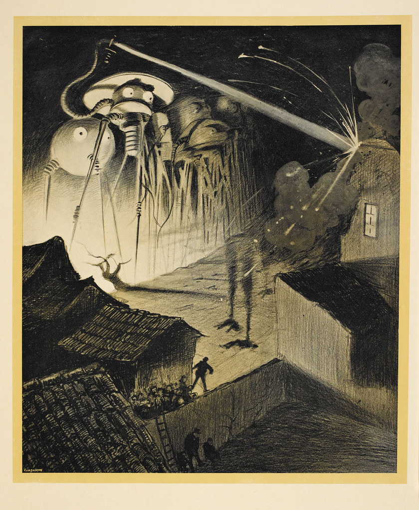 "HENRIQUE ALVIM CORRÊA - Martians Blast House, from The War of the Worlds, Belgium edition, 1906 (illustration is featured in Book I- The Coming of the Martians, Chapter VIII- ""Friday Night,"") print version"