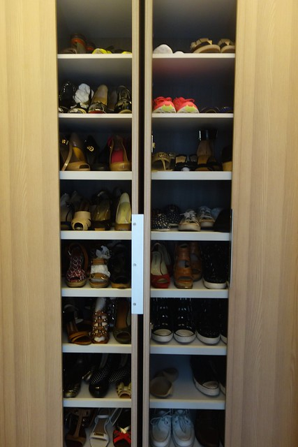 Choosing the shoes for the day from my shoe cabinet. #firstworldproblem