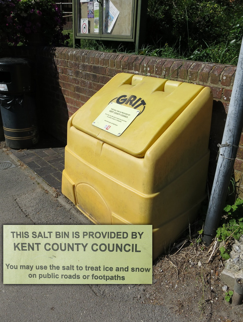 Grit bin - Shoreham - don't see this sort of bin at home! The inset is the words on the bin