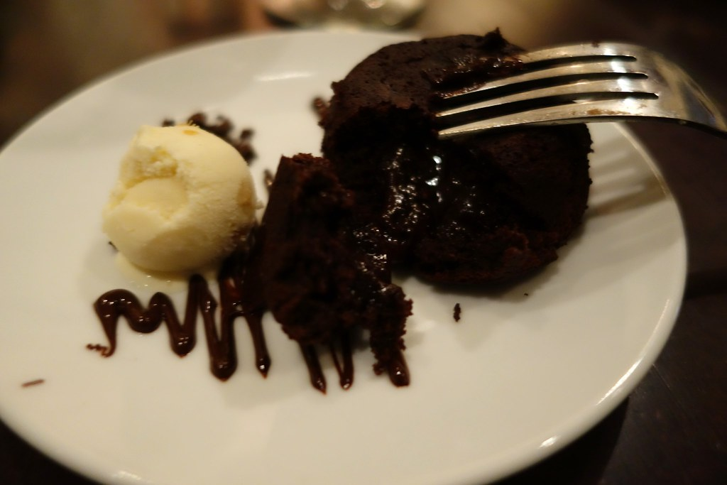 Paleo Chocolate Lava cake, ginger paleo ice cream. Pure Taste, Westbourne Grove
