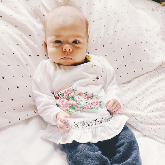 This one has been bringing love and light into our lives for two months now. Sweet baby Sinclair. #instasinclair #baby #babygirl #children