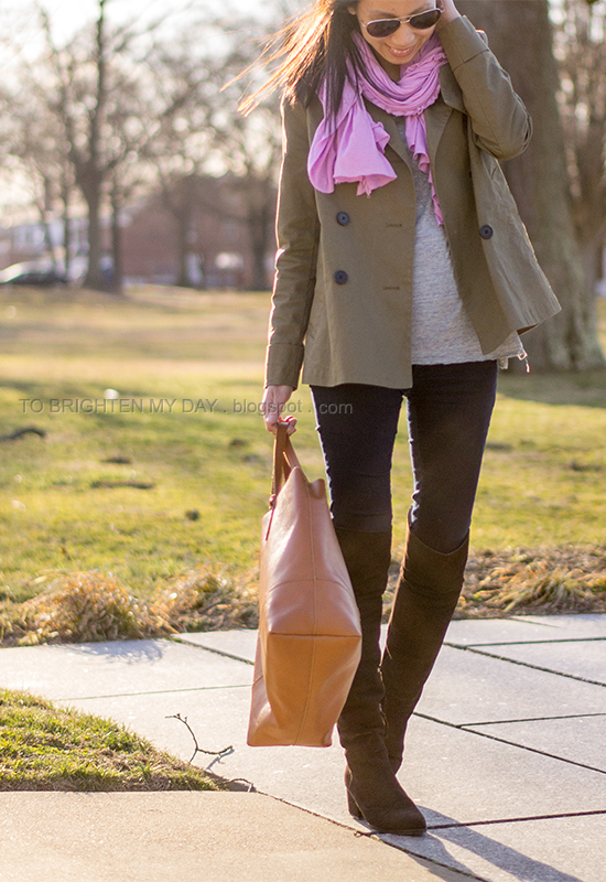 lilac scarf, green swing trench, brown suede over the knee boots, cognac brown tote