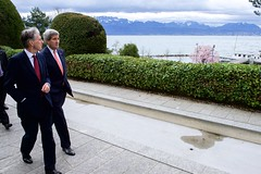 The French Alps rise across Lake Geneva as U.S. Secretary of State John Kerry and British Foreign Secretary Philip Hammond take a walk on March 30, 2015, in Lausanne, Switzerland, during a break in negotiations with Iranian officials about the future of their country's nuclear program. [State Department photo/ Public Domain]