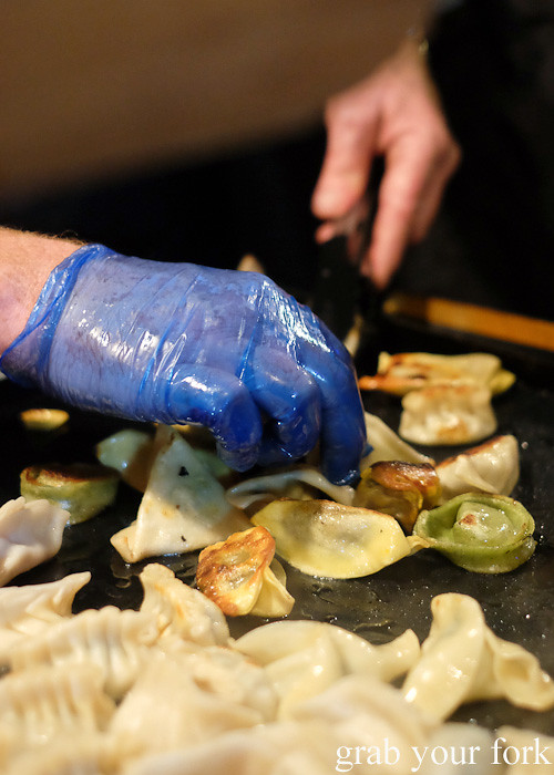 Panfrying dumplings at House of Dumplings at Wellington Night Market on lower Cuba Street