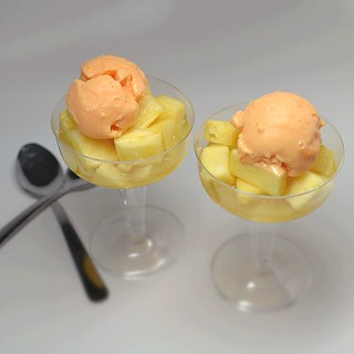 poached pineapple mango yogurt