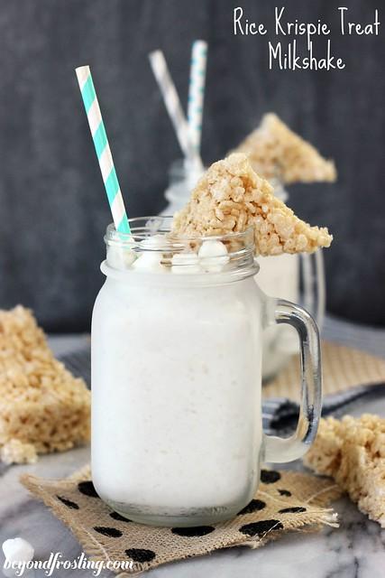 Try this Frozen Rice Krispie Treat Milkshake: vanilla ice cream blended with marshmallow creme and crushed Rice Krispie Treats. One of the best homemade milkshake you will ever make!