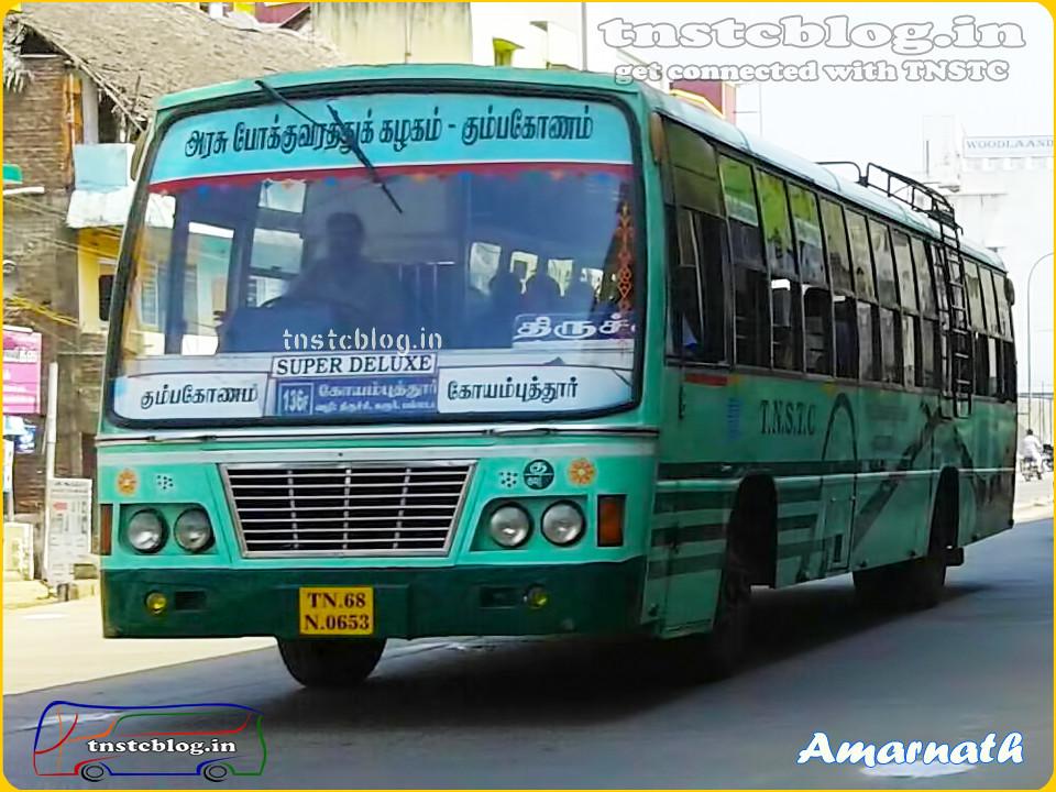 TN-68N-0653 of Kumbakonam Mofussil Depot Route 136F Super Deluxe Kumbakonam - Coimbatore via Tanjore, Trichy, Karur, Kangeyam, Palladam.
