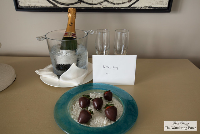 A very walm welcome of fresh plate of chocolate dipped strawberries (on coconut) and bottle of Laurent-Perrier Champagne