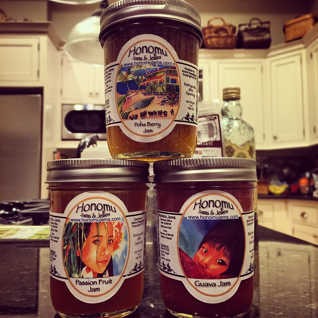 The jams I bought at the Hilo Farmer's Market arrived today! Time to stock up on english muffins.
